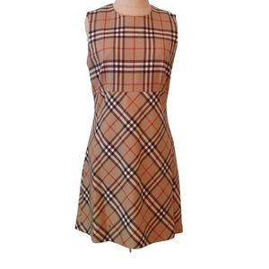 Vintage Burberry Nova Check Wool Shift Dress